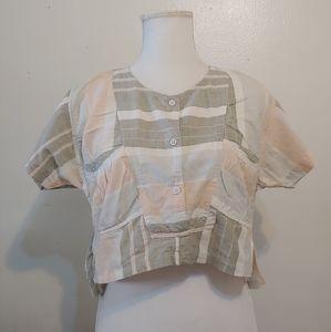 Vintage. Michel. Cotton pastel colored crop top.